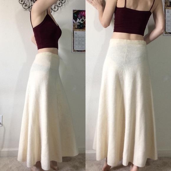 Ellen Tracy Dresses & Skirts - Vintage Lambswool Angora Rabbit Cream Maxi Skirt